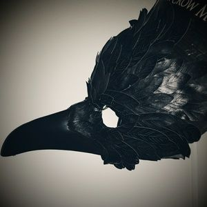 Black Faux Leather feather Crow Mask